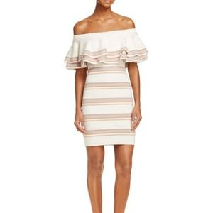 Endless Rose Tiered Off Shoulder Stripe Dress S